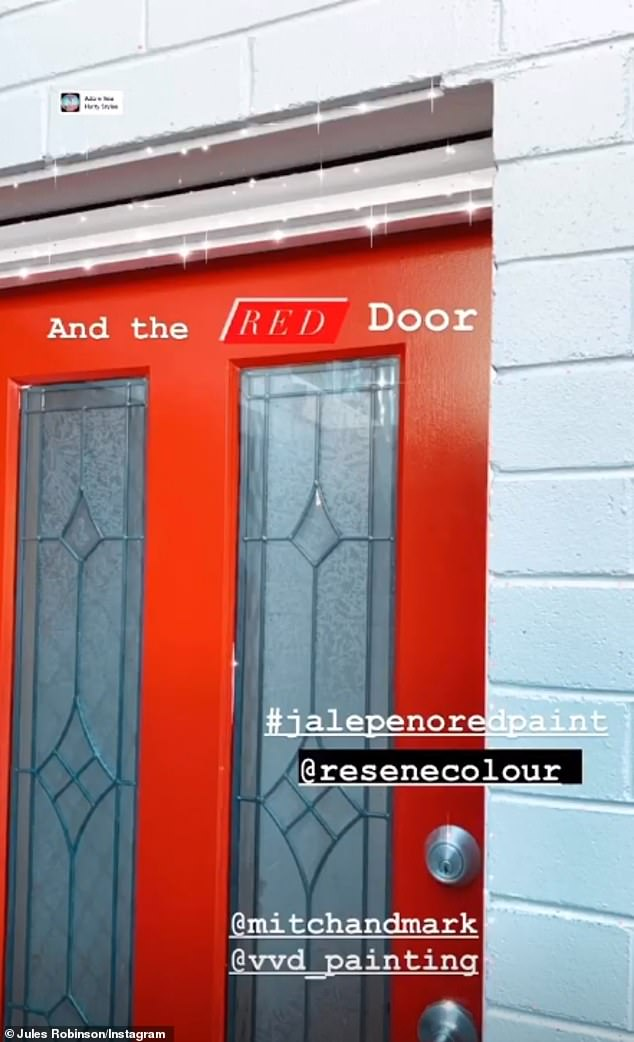 Nice and bright:She also revealed that she and Cameron have chosen to have a bright red door