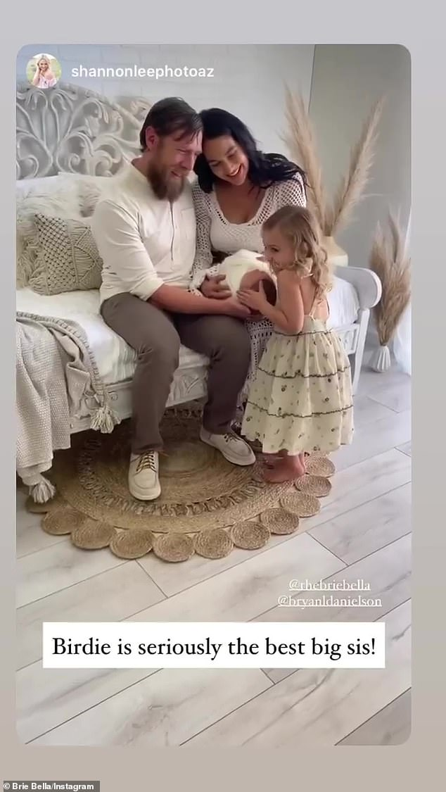 Family: The retired WWE wrestler shares her newborn with husband and WWE star Daniel Bryan, 39,. The couple, who wed in 2014, are also parents to daughter Birdie, three