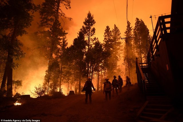 Firefighters walk through the site near Shaver Lake as they continue to battle against the Creek Fire which started on Friday