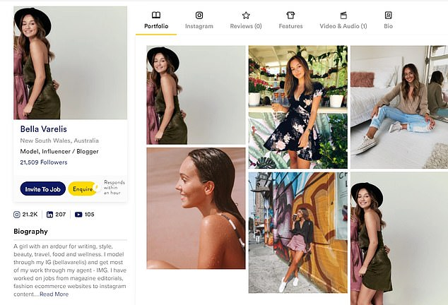 'I have worked on jobs from magazine editorials, fashion e-commerce websites to Instagram content,' she writes in her biography on TheRight.fit