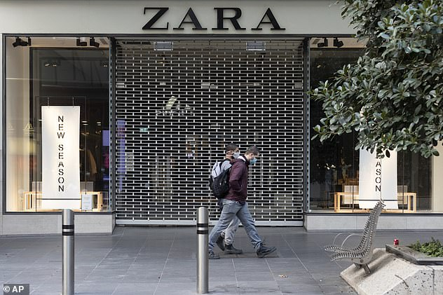 Melbourne's latest lockdown has seen extra jobloss with hundreds of businesses forced to close (Pictured: A Zara store in Melbourne)