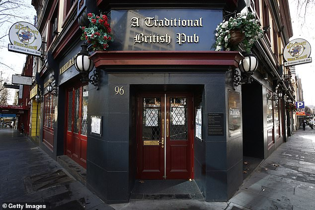 The closed Elephant & Wheelbarrow pub in Melbourne. The city is completely devoid of nightlife as there is a curfew and venues can only provide delivery or takeaway options