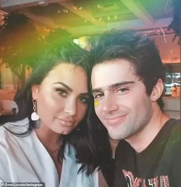 Messy: Max Ehrich has insisted he has not officially ended his engagement to Demi Lovato, despite the singer revealing last week they have broken up(pictured July 9)