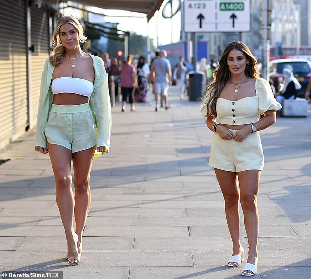 One to watch: Chloe is also being kept busy for now by filming TOWIE, with the latest socially distanced series set to launch on the weekend (pictured with Courtney Green)