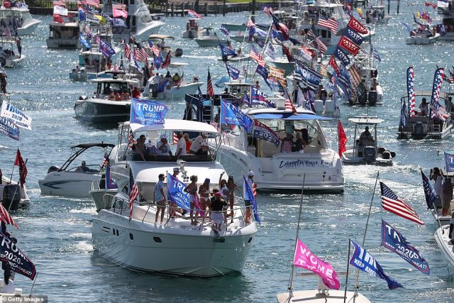 Thousands of Donald Trump supporters took to the waters on Labor Day Monday for a Make America Great Again boat parade. Pictured: boaters in Florida