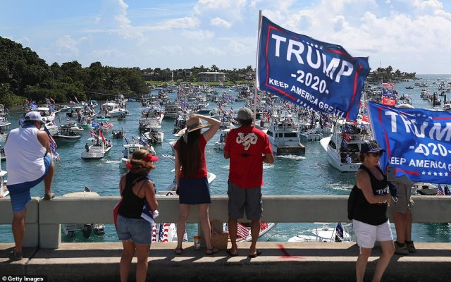 The defiant boaters took to the waters after a number of vessels capsized over the weekend during MAGA parades