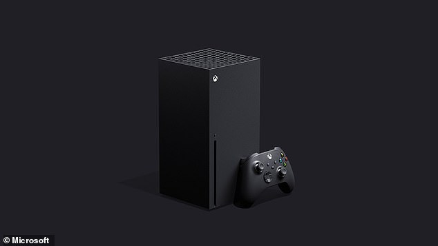 The Xbox Series X console, to be released this November. The design of the new console is different from previous Xbox generations, with a more upright 'tower block' appearance