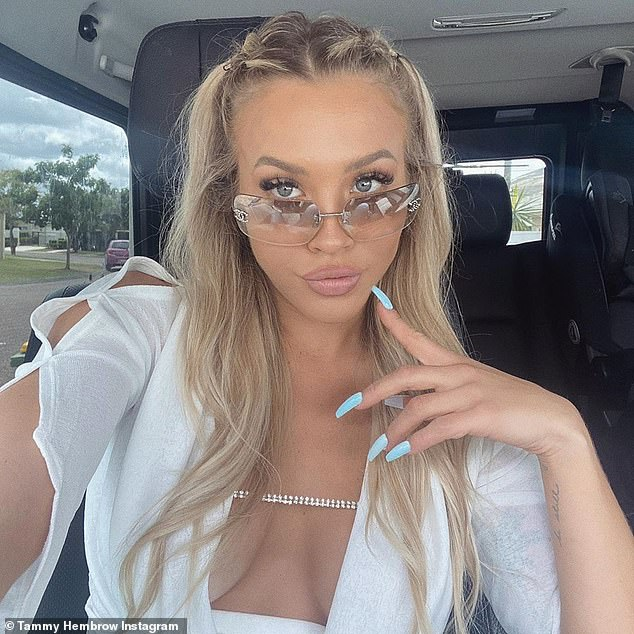 'No one is ever going to kidnap me': On Tuesday, Instagram queen Tammy Hembrow showed off the ear-piercing gift her mother gave her for protection