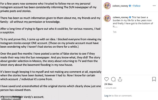 The full statement: Coleen made these shock claims on Instagram after discovering she had been betrayed by someone close to her and she concluded that it was Rebekah's account