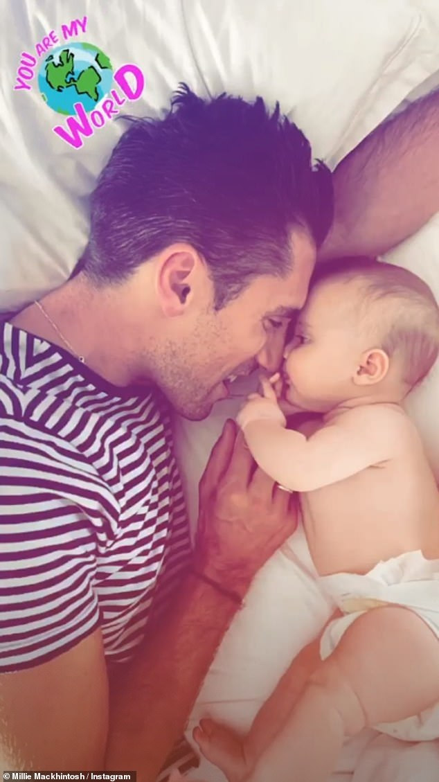 Heartwarming:Millie also took to her Instagram Stories and shared an adorable clip of her husband Hugo Taylor as he cuddled with their daughter