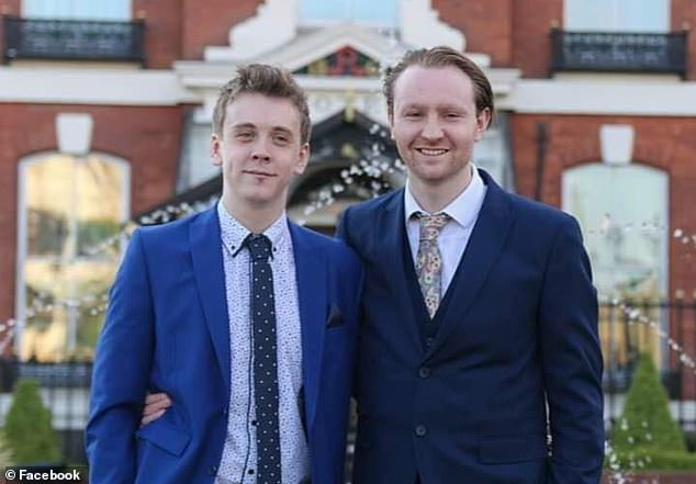 Michael Callaghan (right) was wounded when a crazed knifeman rampaged across the city centre in the early hours of Sunday. The 23-year-old from Crosby, Merseyside, was out with his friend Jacob Billington (left), who died during the attack