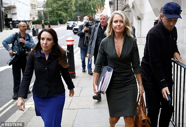 Ms Robinson, arriving at court today, has become one of the UK's highest profile human rights and media lawyers, working in the practice established by Geoffrey Robertson
