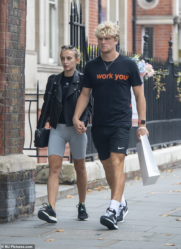 The couple that gyms together...: Made In Chelsea's Tiffany Watson stepped out hand-in-hand with her new footballer beau Cameron McGeehan on Tuesday