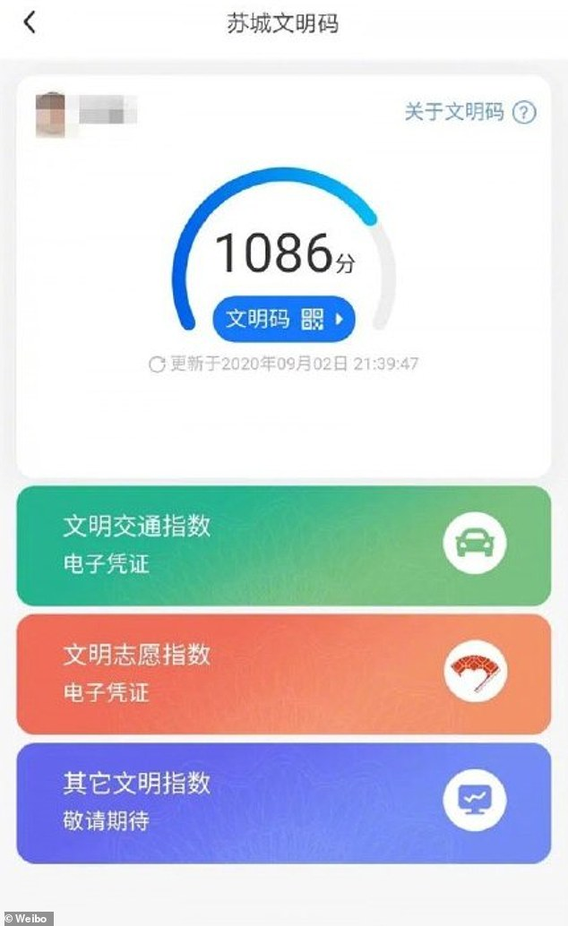 Officials in Suzhou, east China, introduced the rating system, loosely translated as the 'Civility Code', to encourage people to become the model citizens in the eye of the government