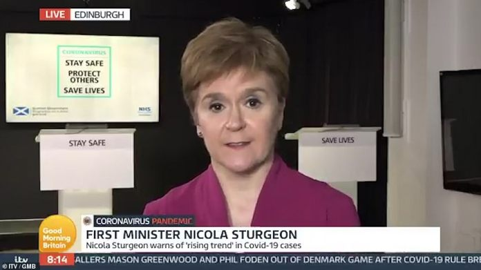 Scottish First Minister Nicola Sturgeon warned today thatgatherings in people's homes were the biggest source of coronavirus spreading in the west of Scotland, rather than the hospitality sector