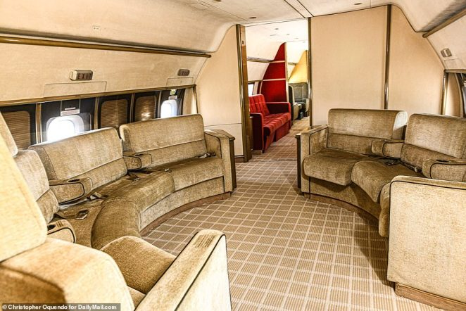 'As a father of two daughters, I'm not real thrilled with having it here. But I guess an airplane is just an airplane,' Stambaugh told DailyMail.com. 'Somebody needs to come and do something with it or it needs to be scrapped because it's just going to sit here and keep deteriorating'. Pictured: The front cabin of the plane with a circular seating area