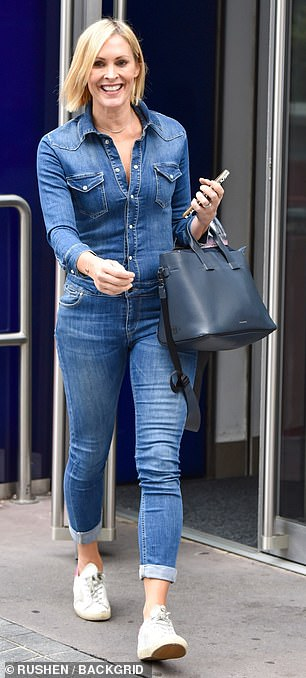 Toned and trim: The near-skintight outfit served to accentuate fitness mad Jenni's slender physique following her latest stint on the airwaves