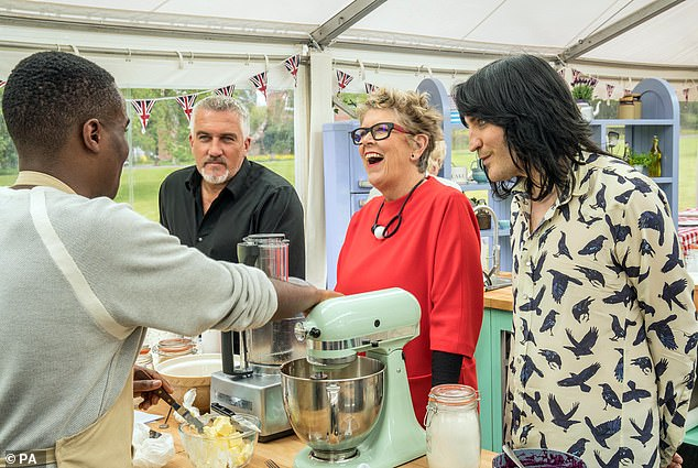 Paul said baking was off the scale during lockdown, therefore 'this year, more than any other, we need Bake Off'. Pictured: Noel Fielding, Paul Hollywood and Prue Leith with previous contestant Liam