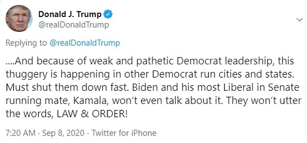 In two tweets Tuesday, Trump challenged Biden and his running mate Kamala Harris to 'utter the words, LAW & ORDER,' after protesters displayed bad behavior in Pittsburgh Saturday. The protesters later told the Post-Gazette that the video didn't tell the whole story