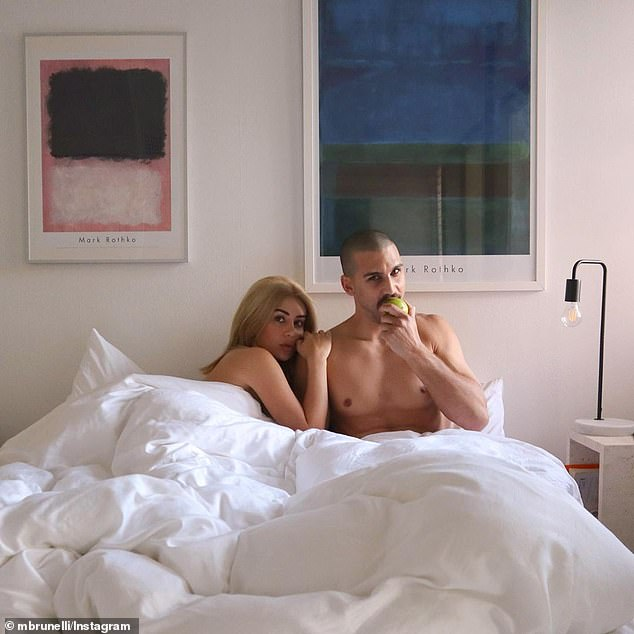 Racy! Martha Kalifatidis and her boyfriend Michael Brunelli were feeling very amorous on Tuesday. The couple each shared a photo to their Instagram accounts showing them cuddled up together, naked in bed. Both pictured