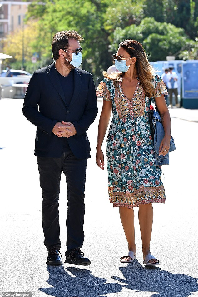 Star: The There's Something About Mary actor, 56, walked with actress Roberta Mastromichele, 44, as they enjoyed the sunshine of the Italian city