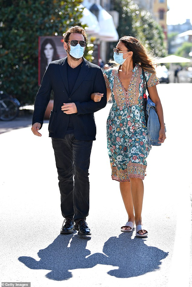 Man in black:Matt Dillon was seen stepping out for another day on jury duty at the 77th Venice Film Festival on Tuesday - this time with his Italian girlfriend on his arm