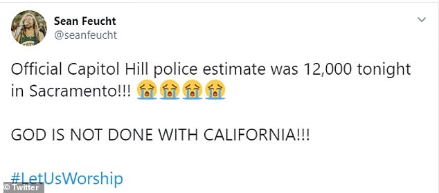 Feucht, who is connected to the Bethel Church in Redding, said: 'Official Capitol Hill police estimate was 12,000 tonight in Sacramento!!! GOD IS NOT DONE WITH CALIFORNIA!!! #LetUsWorship'