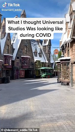 Viral video on TikTok shows crowds of tourists packed into a Universal Orlando theme park amid the COVID-19 pandemic. A photo on the left shows the park empty