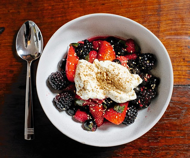 This delicious berry and mint compote is a refreshing breakfast dish that will satisfy any sugar cravings