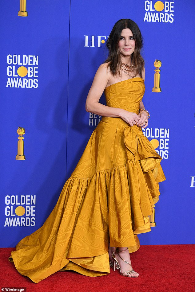 Pre-pandemic Sandra: The actress in more glammed-up times during the Golden Globe awards in January 2020