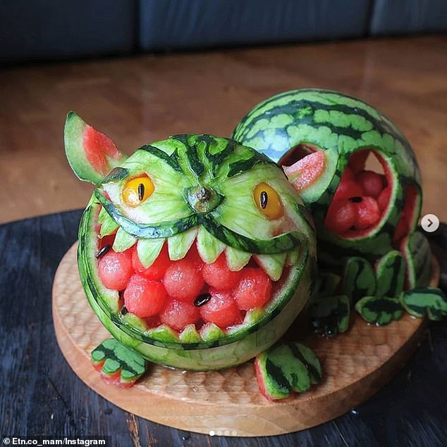 Scary! This little guy was carved out of watermelon and appeared to be a firm-favourite online with the mother's many fans