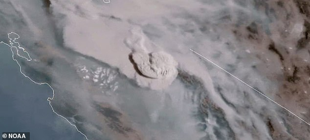 The 'Creek Fire' ignited on Friday in Sierra National Forest, which burned more than 78,000 acres and produces a massive 'fire cloud' visible from space