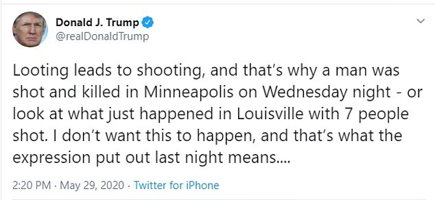 Chandwaney also said they were hoping Facebook would have removed President Donald Trump's 'when the looting starts, the shooting starts' post but the company left it up instead. Trump shared the post on Facebook and Twitter