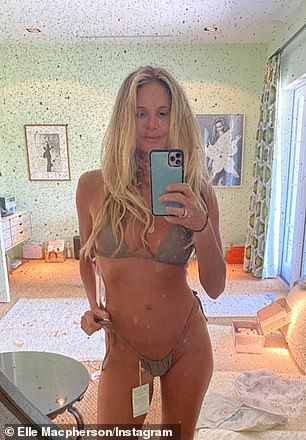 Elle went viral earlier this week after she showed off her ageless physique at age 56 in a string bikini earlier this week (pictured)
