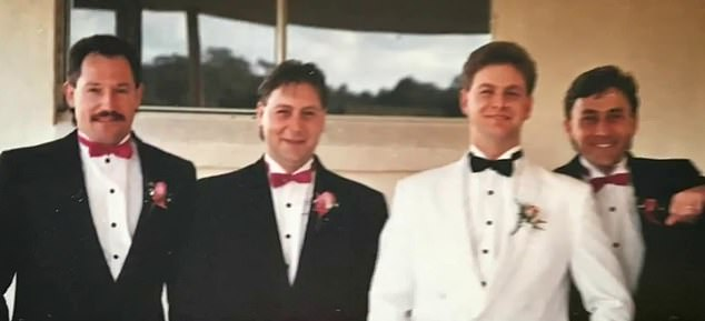 Neighbours said Mr Whitney (pictured second from left) and his roommate were also attacked by the dog in April and had been rushed to hospital to receive surgery