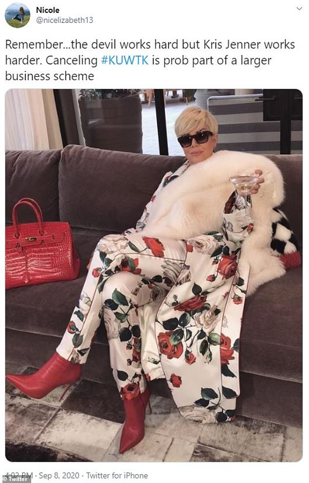 In charge: Another person named Nicole posted a photo of Kris looking debonaire in a white suit and overcoat covered in red roses while suggesting it was all part of her plan