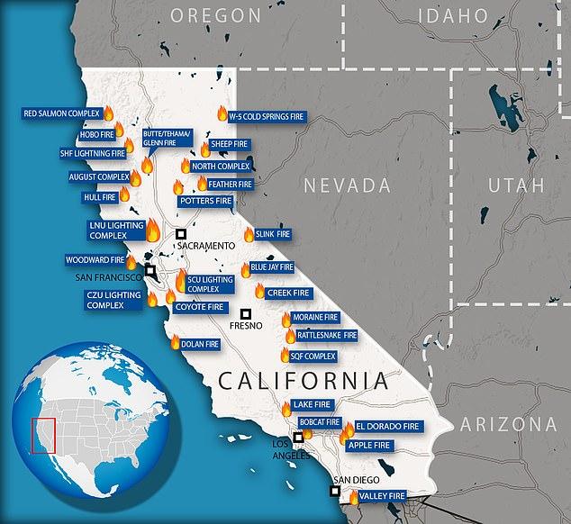 14,100 firefighters were battling 25 separate blazes in California