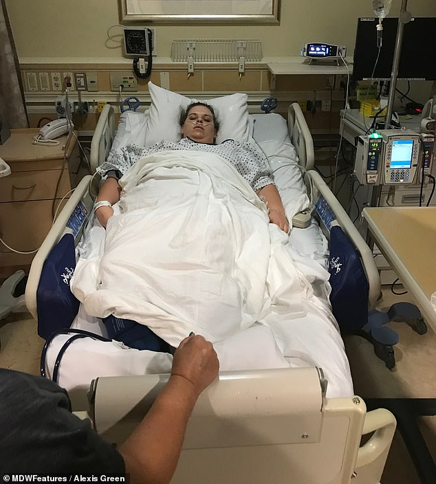 Hard: Alexis, pictured in the hospital following the surgery, said it was difficult to go from having a normal stomach to only being able to consume about four or five ounces at a time