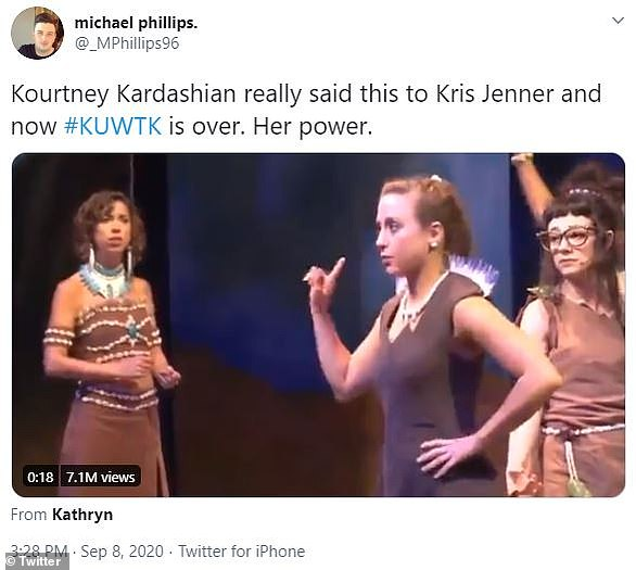 She's done: One user post a clip from the musical Firebringer in which a woman sings, 'I don't really wanna do the work today,' over and over again to stand in for Kourtney's choice to leave the show before the upcoming season