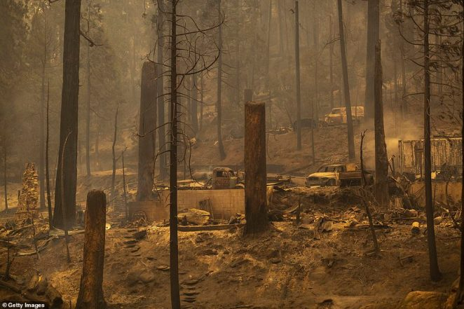 It remains unclear how the Creek Fire started, but photos taken on Tuesday showed the devastation in the Meadow Lakes area