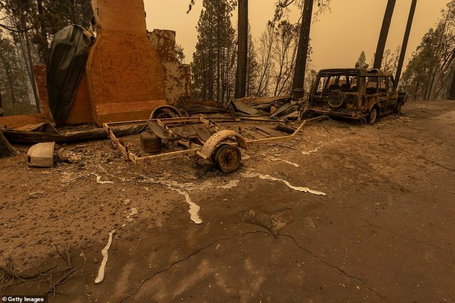 The Creek Fire started on Friday night and blazed through a swathe of northern California in the Sierra National Forest
