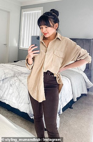 Sydney blogger Angel Perez bought the shirt in a size 12 for a chic, over-sized look