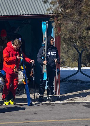 Fit: Zac held on to his skis and poles at the hire shop