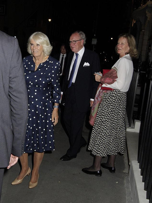 Camilla was all smiles following her evening dining with pals, as she headed off in the front of a car