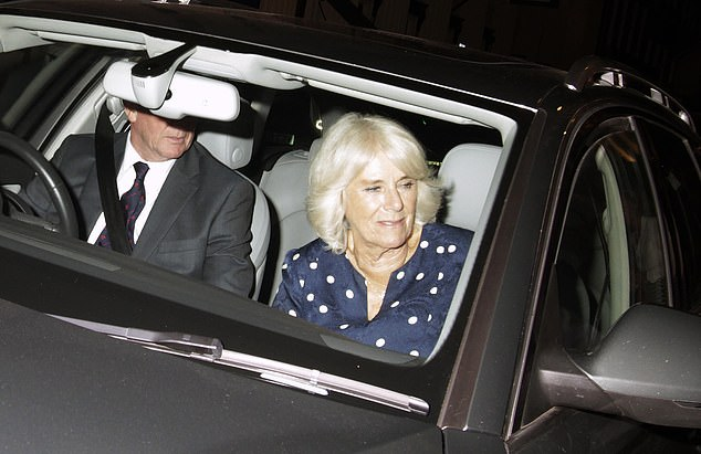 The Duchess of Cornwall's evening out followed her earlier royal engagement, where she visited Ivydale Primary School in a bid to highlight child's literacy