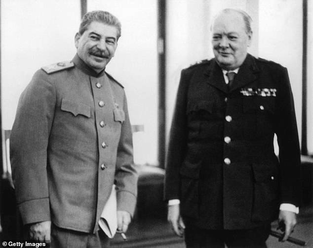 Winston Churchill said he would consider bombing Russia (Joseph Stalin with Churchill, pictured) if he was Prime Minister during the Cold War, a newly-emerged memo has revealed