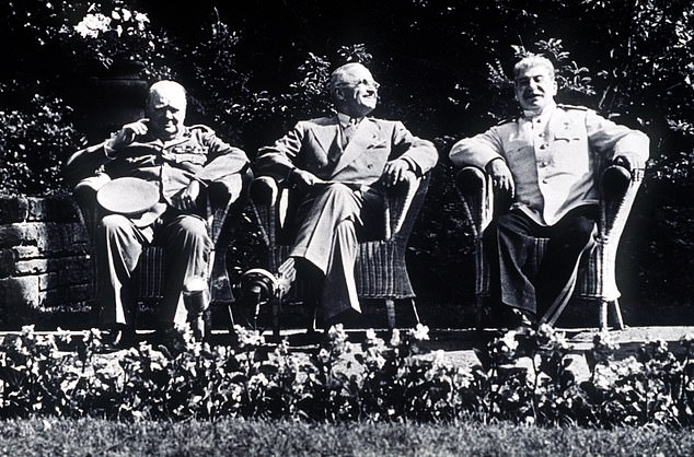 Britain and the Soviet Union had been allies in the Second World War (Churchill, US President Franklin D. Roosevelt and Stalin in 1945) until 1945, the year Churchill lost office as Prime Minister