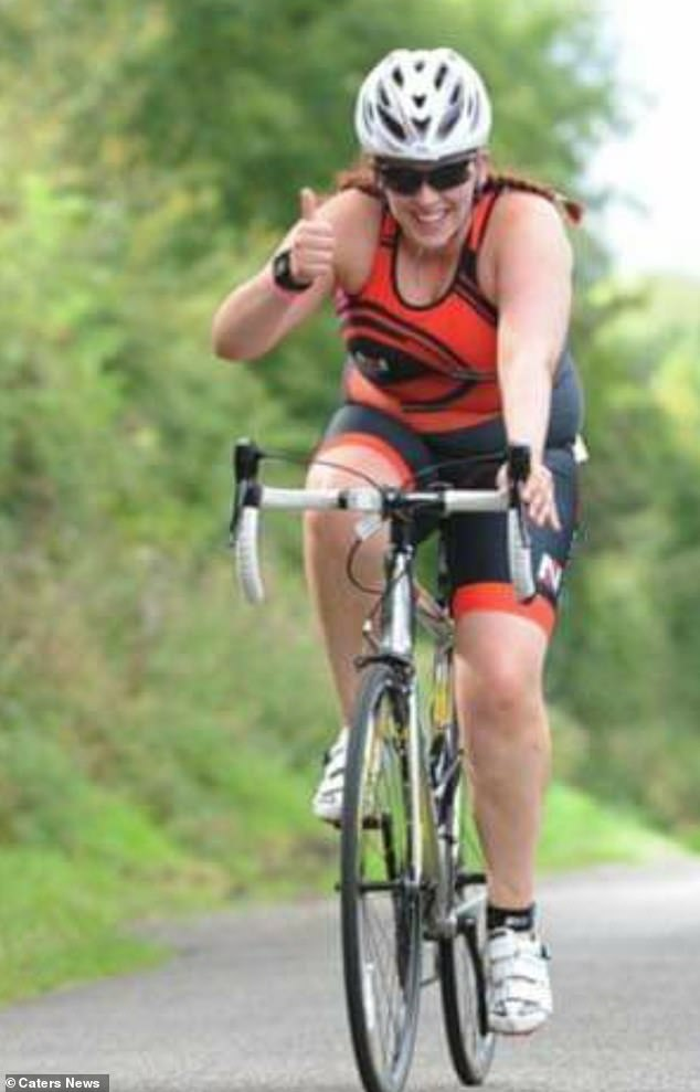 The ex fitness fanatic, who completed a triathlon (pictured), has spent four years in a wheelchair after suffering spinal degeneration disc disease, fibromyalgia, prolapsed discs, spondylitis and kyphosis in her neck