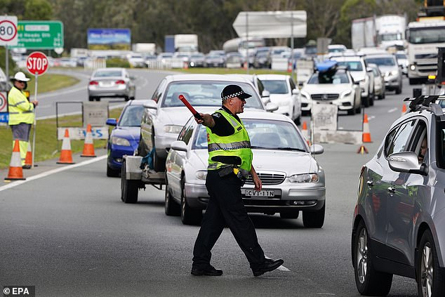 Ms Berejiklian repeated calls for QLD's premier to reopen her borders, stating there was no reason to keep NSW residents out. Pictured: Motorists approaching the QLD-NSW border check point
