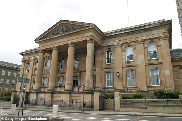 John Menzie, 56, set up an elaborate plot to force the woman to hand him the sum of money to keep her secret identity hidden from her family and friends (pictured: Dundee Sheriff Court)